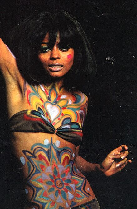 Diana Ross with psychedelic body paint.