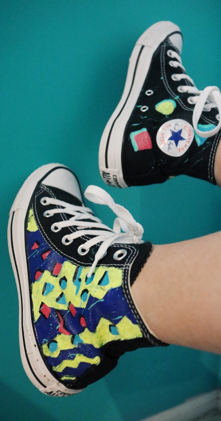 Retro 80s Style Converse High Tops from  Golden Eye Shoes