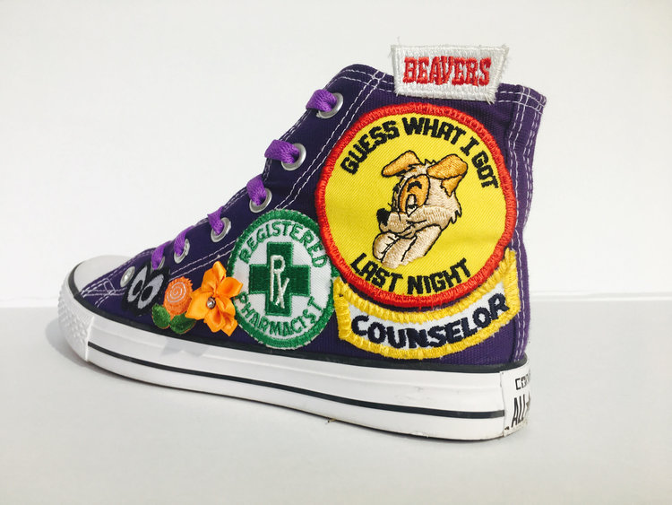Patch Covered Custom Made Converse Shoes from Natural Born Custom