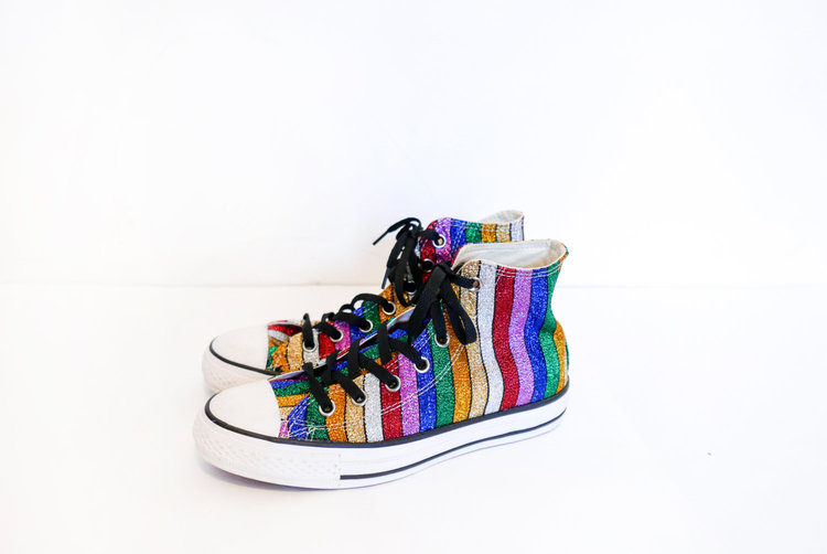 Glittery Rainbow Stripes Converse Hi Tops from  Sansprix