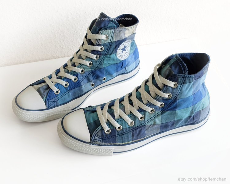 Blue Plaid Converse Hi Tops from  Femchan Streetwear