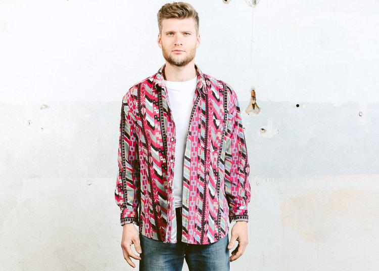 90s Corduroy Longsleeve Aztec Print Shirt from  Beta Menswear