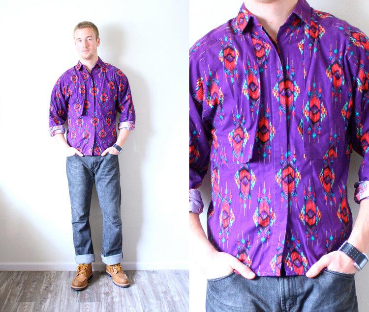 Mens Purple Southwest Print Shirt from Beige Vintage Co