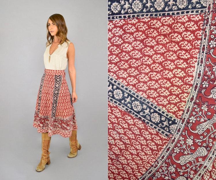 70s Indian Block Print Skirt from  Discoleaf Vintage