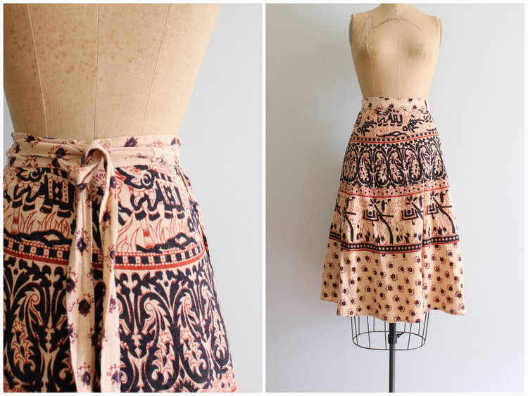 60s 70s Vintage Wrap Skirt from  Age of Mint