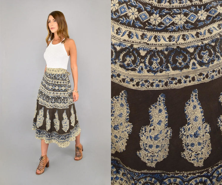 70s Boho Wrap Skirt from  Disco Leaf Vintage