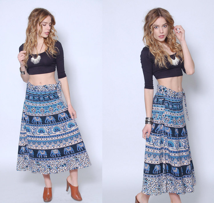 90s Indian Wrap Skirt from  Lotus Vintage NY