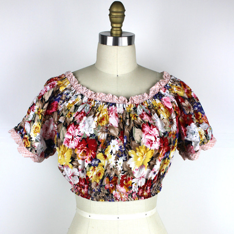 Floral Crop Top with Gingham Trim from  Megan Leone Vintage
