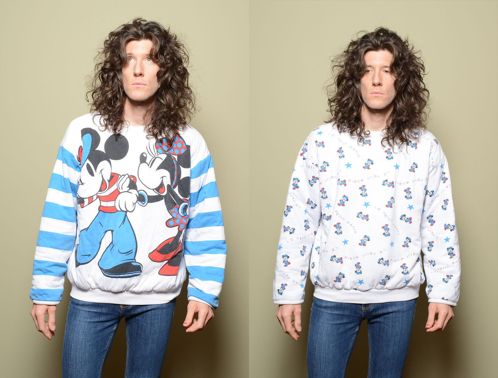 80s Reversible Minnie and Mickey Mouse Pullover from Carnival of the Maniac