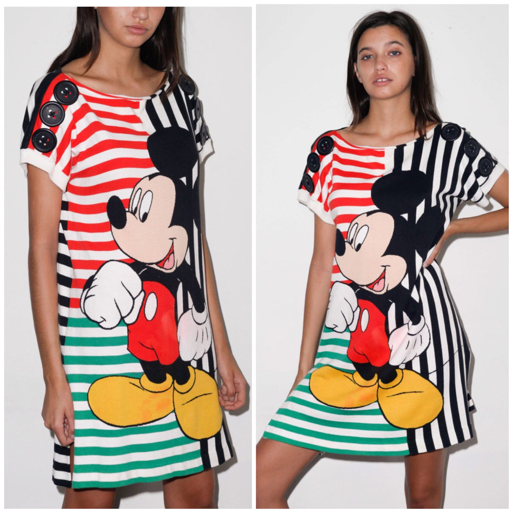 80s / 90s Jean - Charles De Castelbajac Mickey Mouse Stripe Tee Dress from Cara Mia Vintage