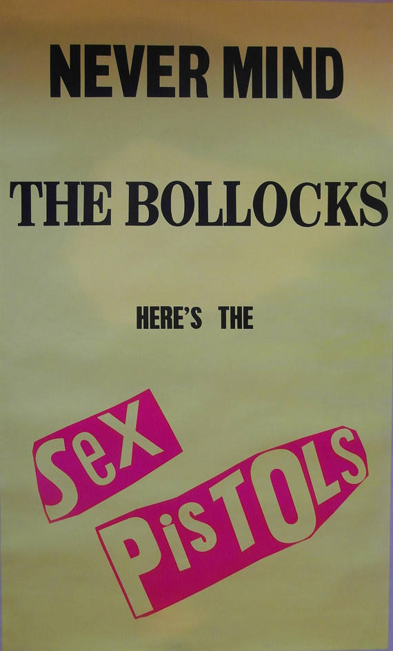 Original 1977 Large Subway Poster for Sex Pistols album Never Mind the Bollocks