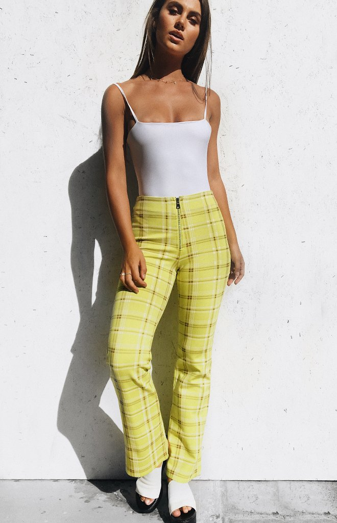 Lime Green Plaid Pants from Beginning Boutique
