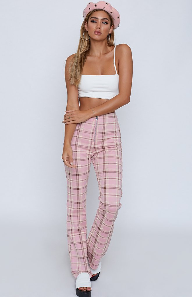 Pink Plaid Pants from Beginning Boutique