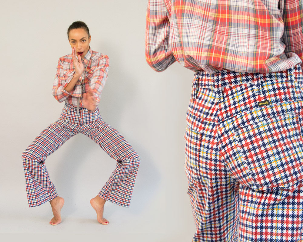 70s Vintage Wrangler Colourful Plaid Pants from Day 17 Vintage