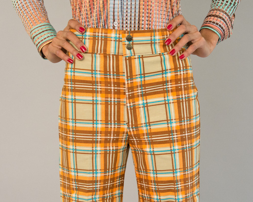 Deadstock Seventies Vintage Bell Bottoms in Plaid from Day 17 Vintage