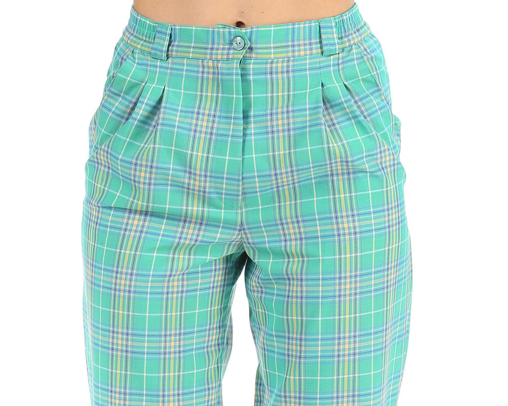 Tapered 80s Vintage Plaid Trousers in Check Print from Beta Apparel