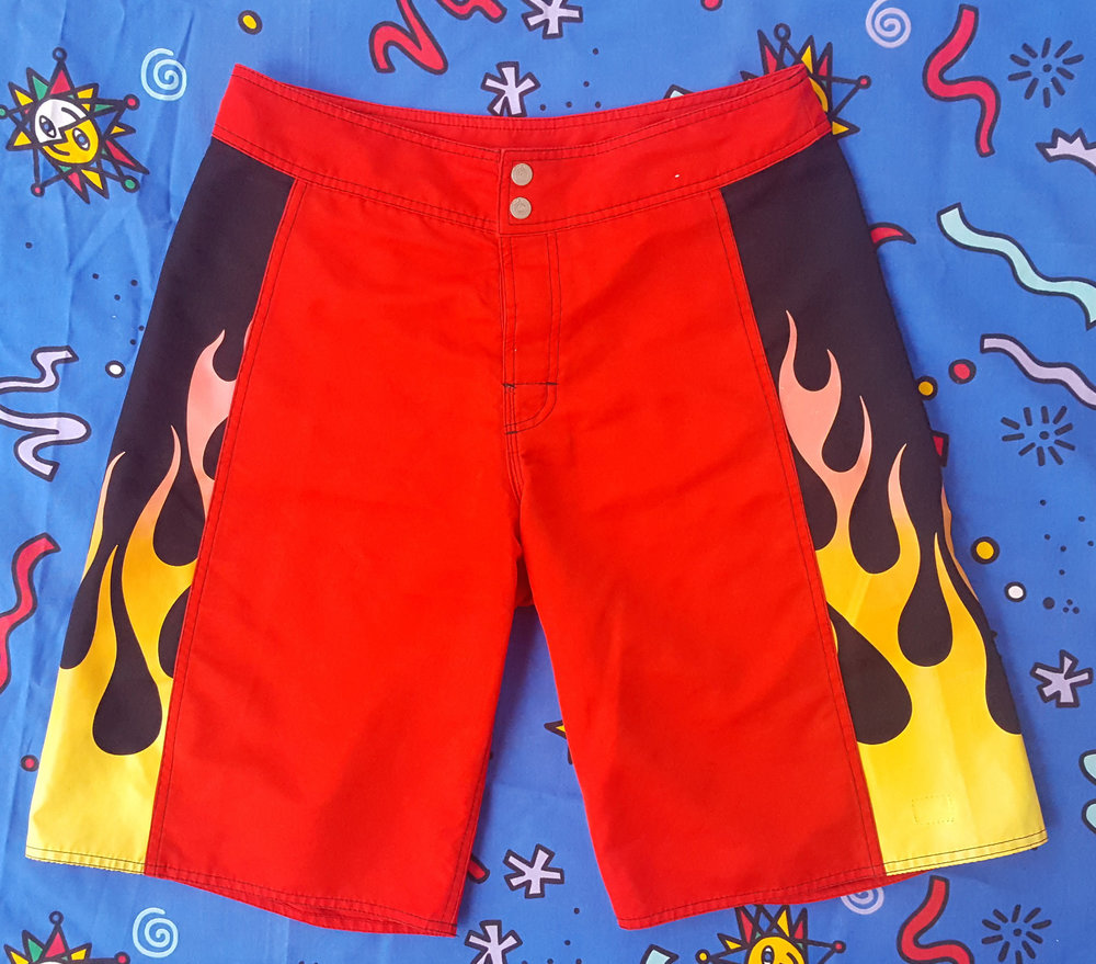 90s Vintage Quiksilver Board Shorts with Flame Print from Neon Point
