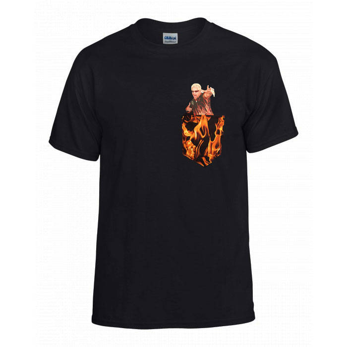 Guy Fieri Flame Print Funny Pocket Tshirt from WolfToof