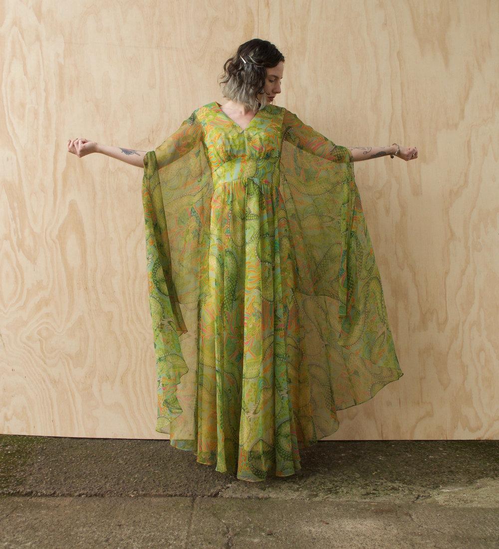 Incredible Dragon Print 70s Dress with Chiffon Angel Sleeves from Ozma Autonomy