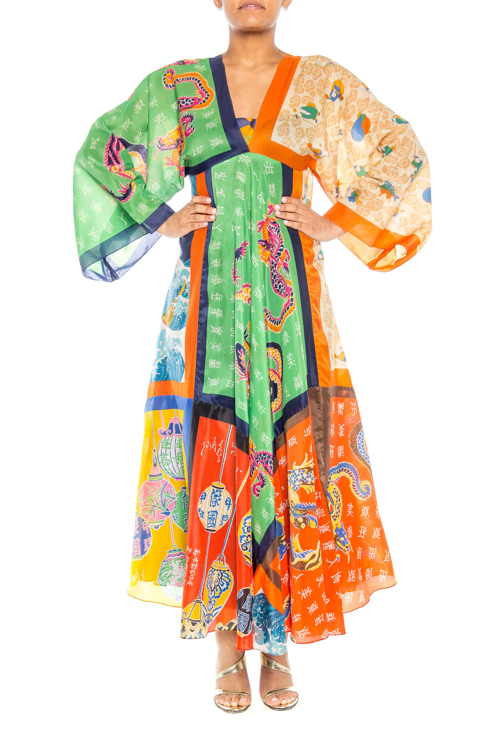 70s Asian Dragon Scarf Dress from Shop Morphew