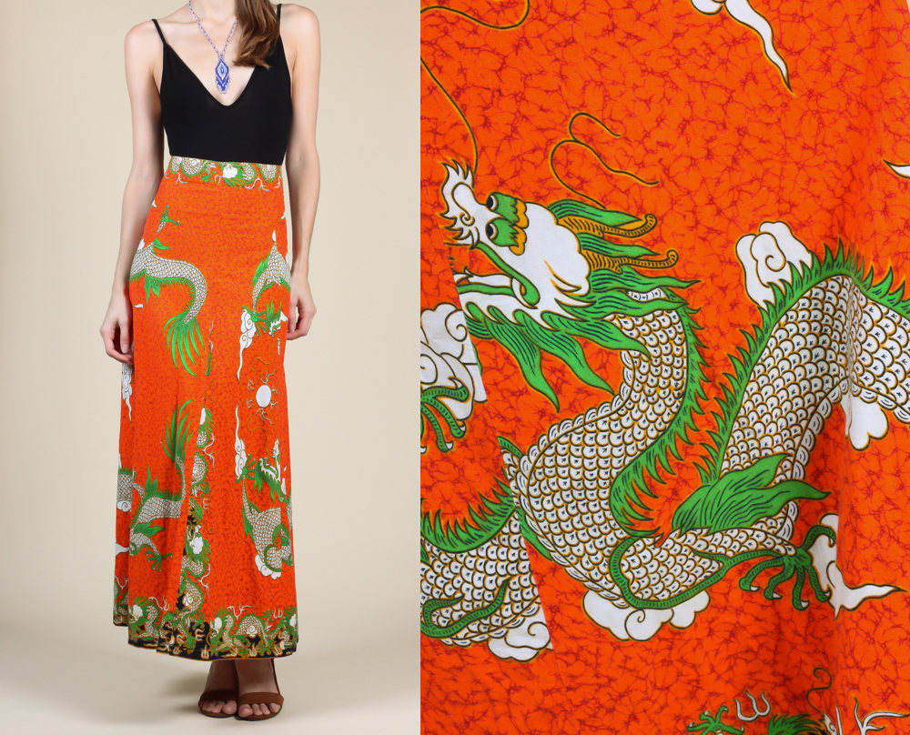 1970s Drago Print Maxi Skirt from Flying Apple Vintage