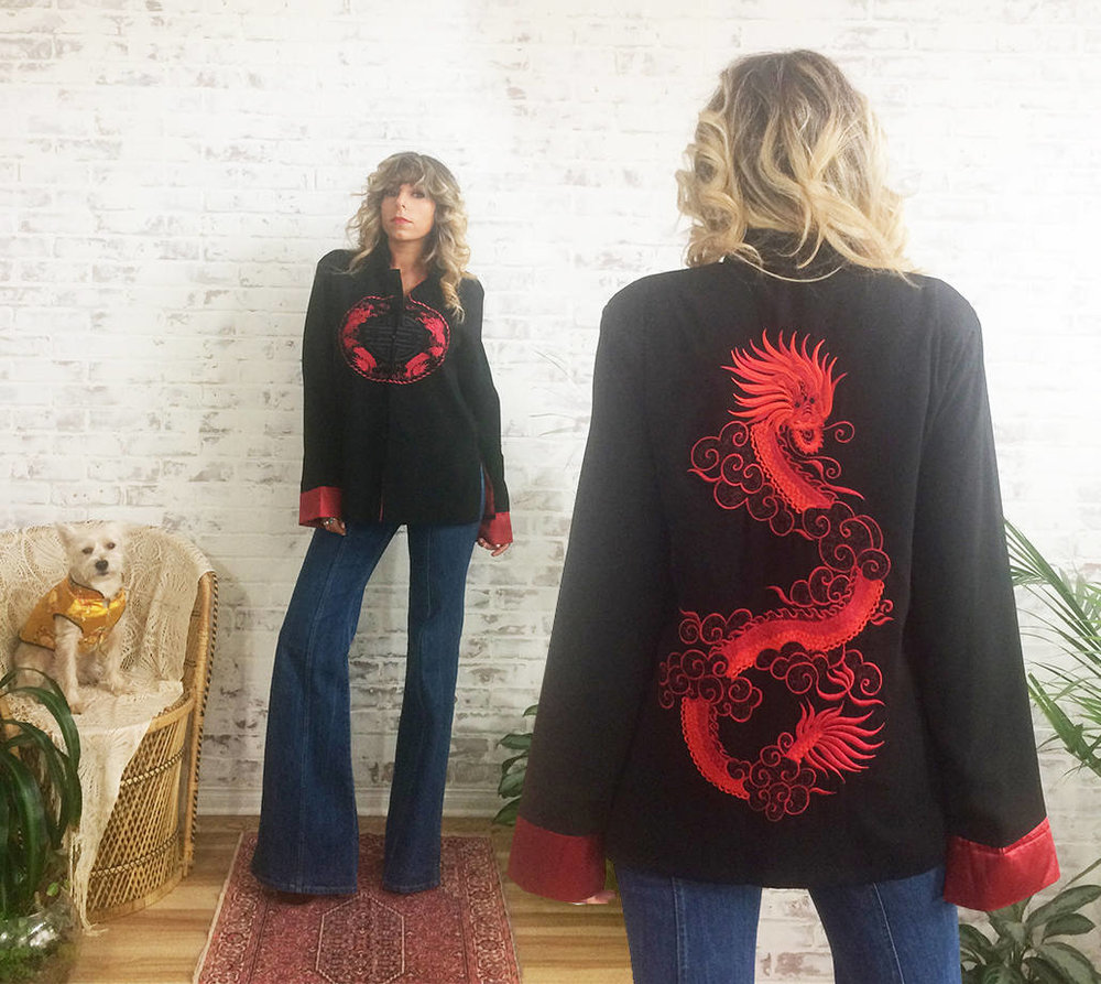 1970s Embroidered Silk Kimono Robe from Gimme Shelter Vintage