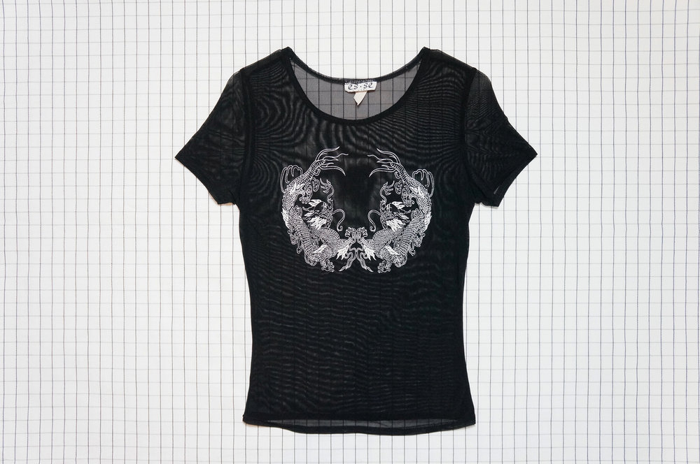 90s Vintage Mesh Top with Dragon Print from Tears Machine