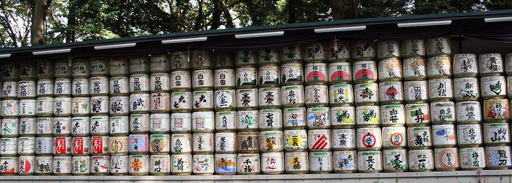 A wall of sake barrels at the Meiji Shrine in Toyo