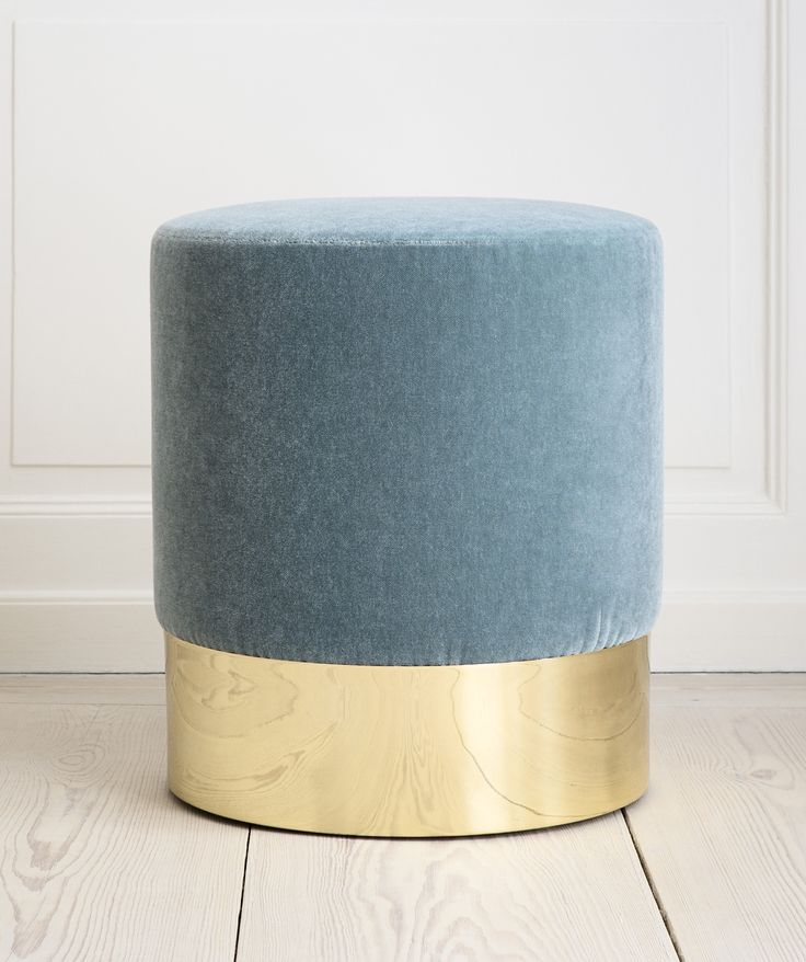 Luigi Caccia Dominioni brass and velvet ottoman