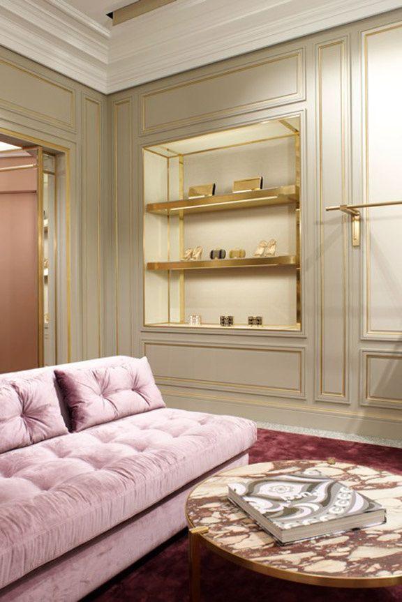 Pucci store, New york Joseph Dirand pink velvet sofa