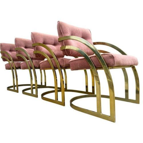 Milo Baughman velvet and brass chairs