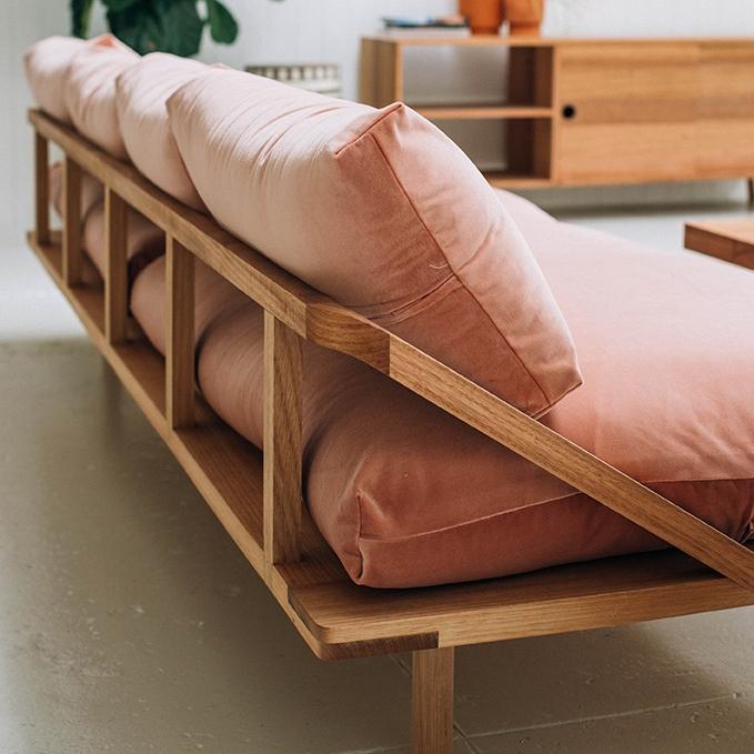 Pop & Scott pink velvet sofa wood frame