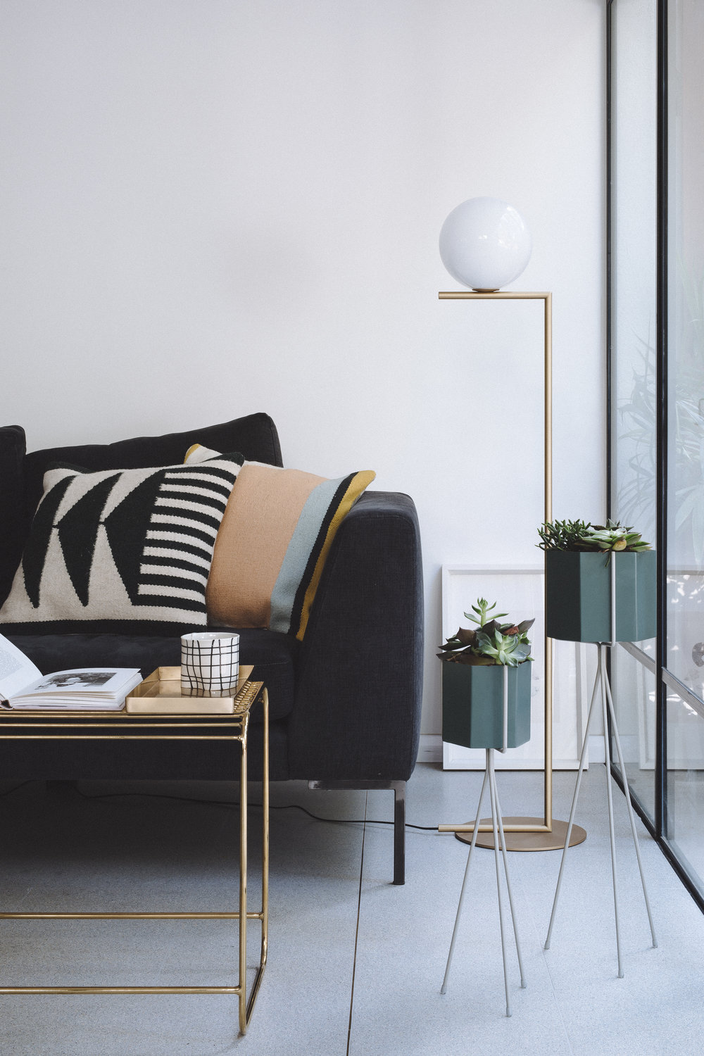 Flos IC light. Living room design. Velvet sofa. Ferm living