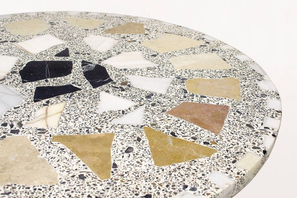 Terrazzo table large marble pieces in light surface