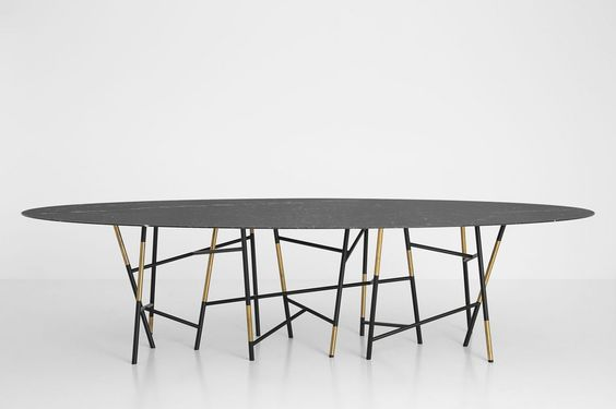 Dimore studio table design brass details