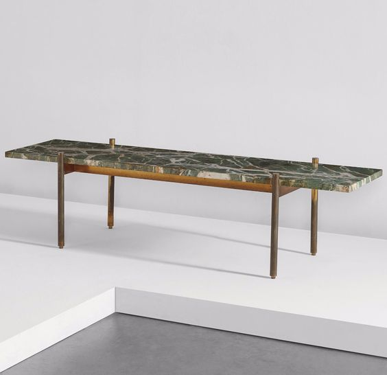 Gio Ponti brass and marble table