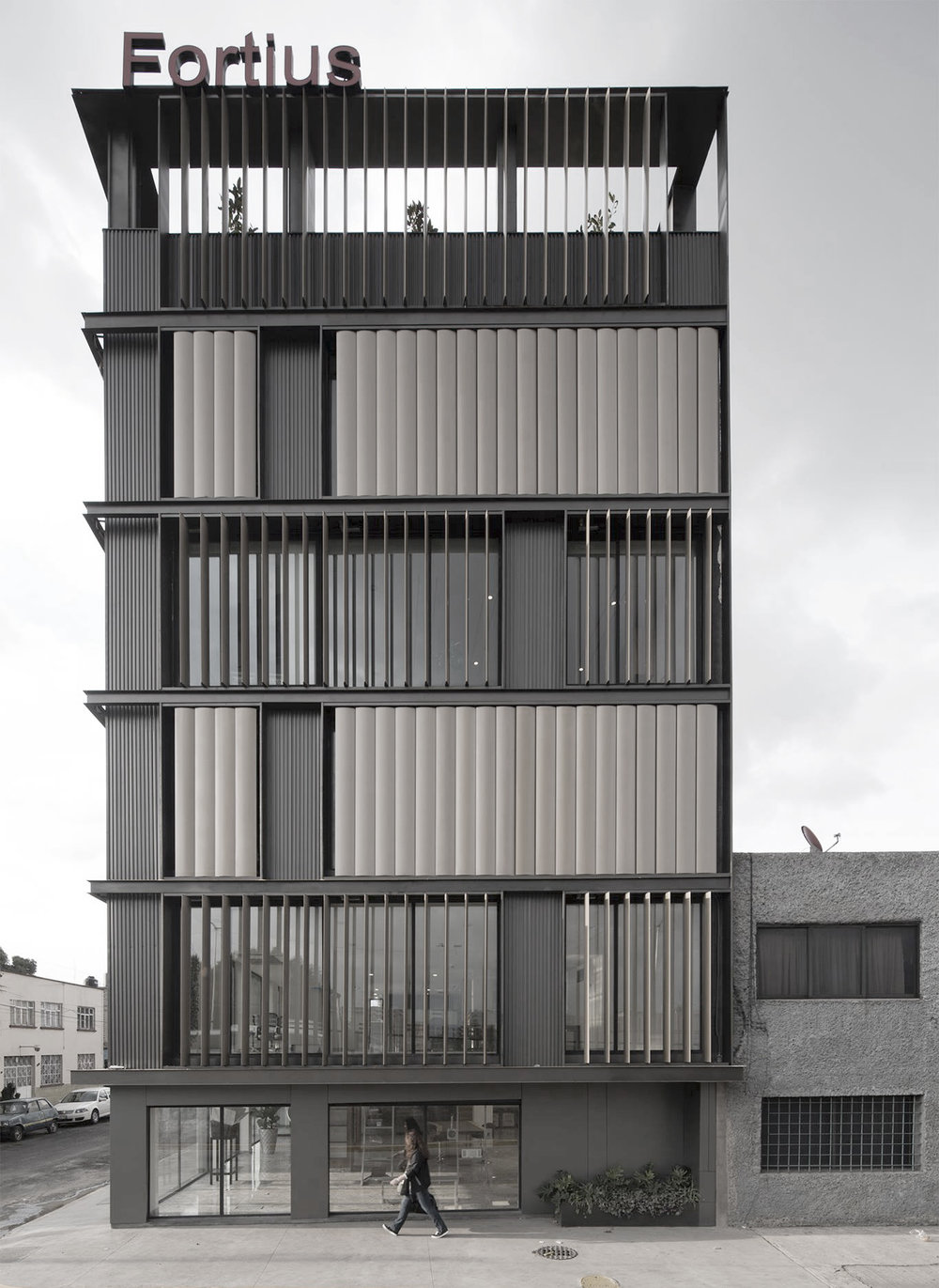 Striped facade vertical louvers