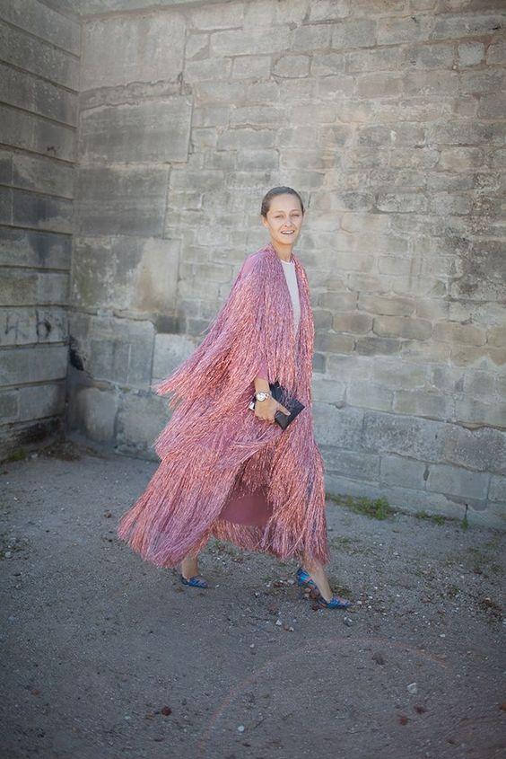 Metal pink fringe cape