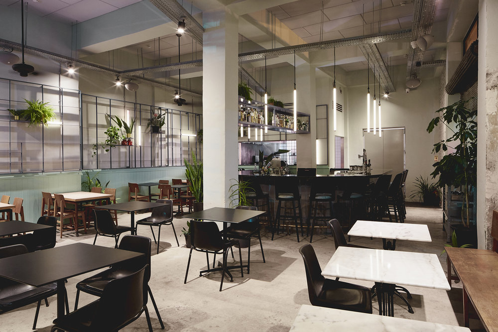 Restaurant design. concrete floor. metal grid element combined with tube lighting and plants