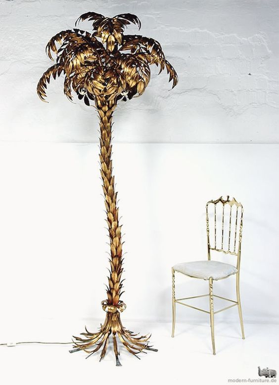 brass palm standing lamp
