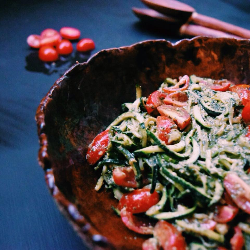 Raw Pesto Zucchini Noodle Salad