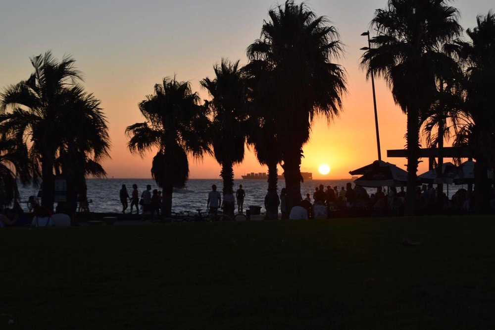 Watching the sunset at St Kilda Beach - it was 8.30pm when I took this photo!!