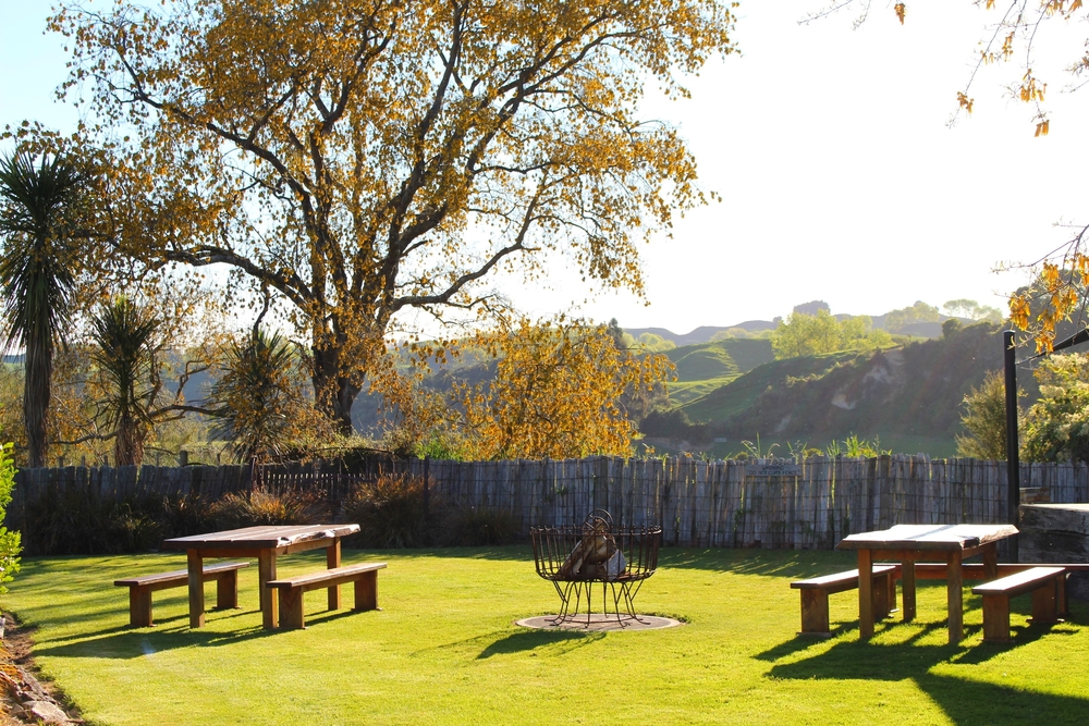 With the idilic sound of Tui's, enjoy our native gardens and views overlooking the Makoura farm property. We can cook a gourmet BBQ while you enjoy the sunshine, garden bar and lawn sports. At night take a seat around our large brazier and watch the stars.
