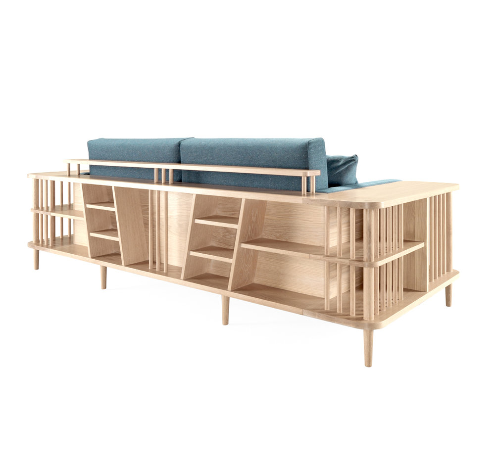 SCAFFOLD for WEWOOD Scaffold is a comfortable sofa with a surrounding wooden frame which can be used as a bookshelf or as a division, showing the best of the high-end joinery. Almost like the sofa is under construction the user can use the scaffolds around it to place their belongings. Scaffold can be used at the same time as a sofa, a bookshelf  or as a division between the living and the dining room, creating an exclusive space.