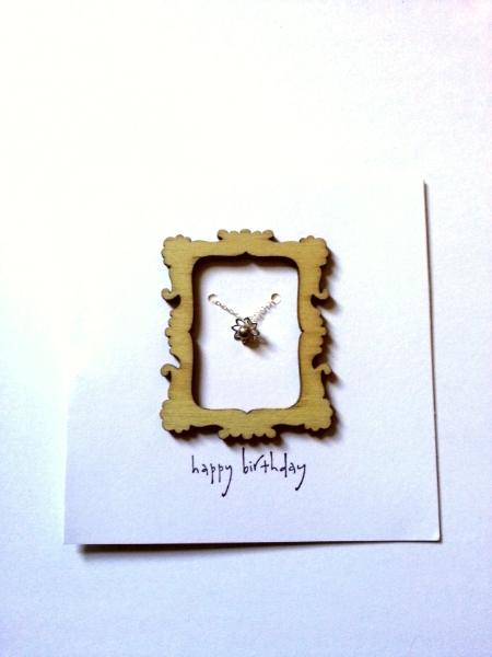 rectangular Happy Birthday - Pearl Lotus Pendant