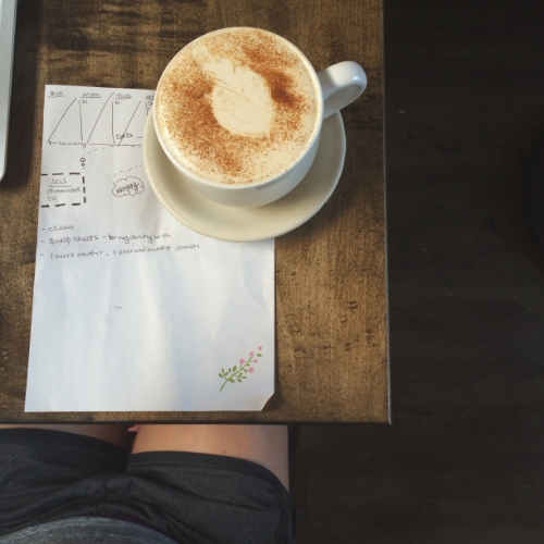 basic bitch, coffee shop selfie, doin work
