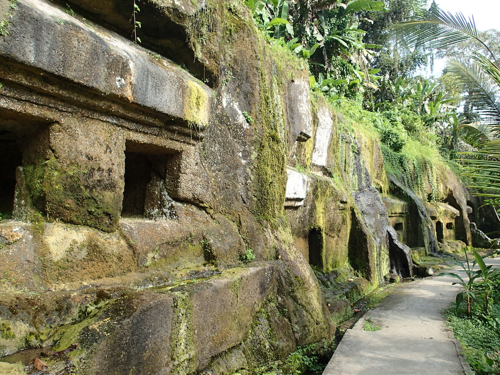 Stonework (ancient monk's sleeping quarters) at Pura Gunung Kawi