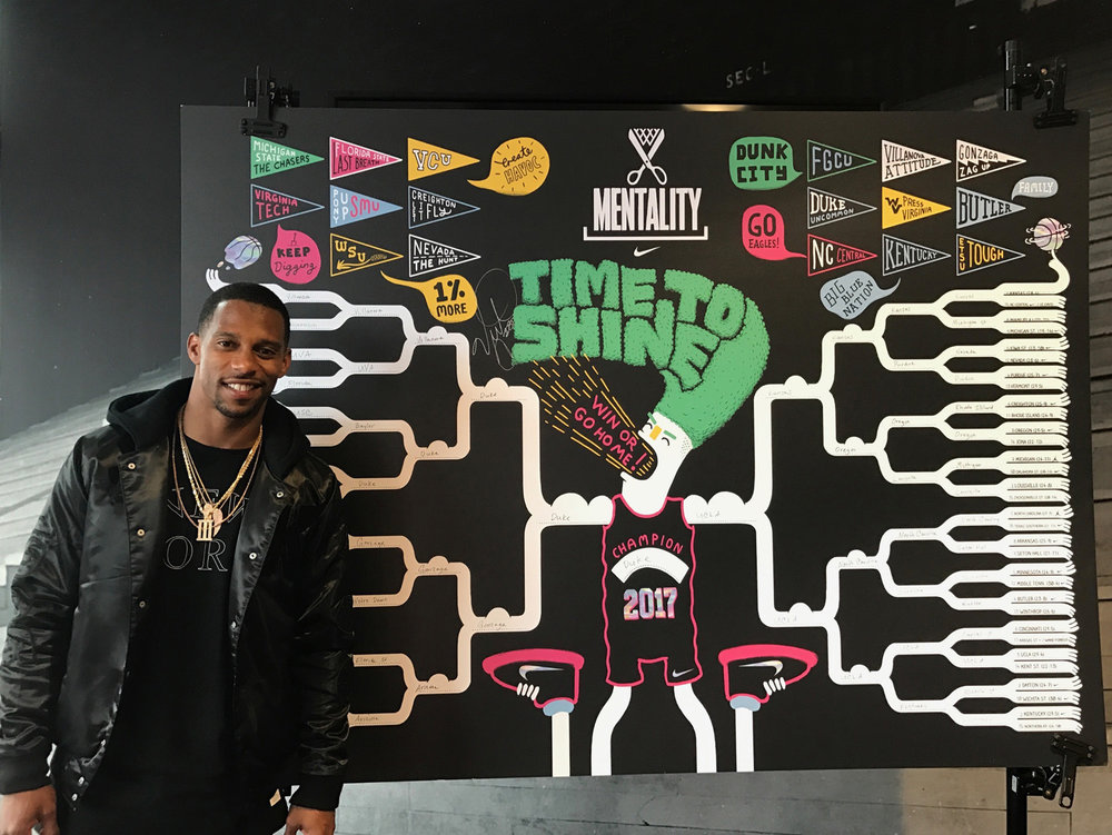 Victor Cruz filled out the larger bracket at Nike HQ.