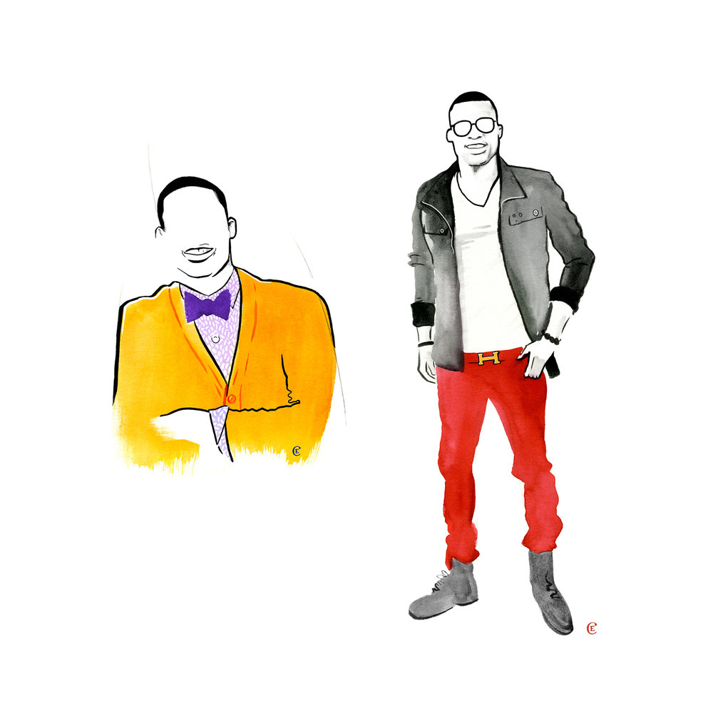 Russell-Westbrook-chris-edser-yellow-cardigan-red-trousers