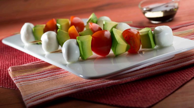 Avocado, Mozzarella and Tomato Skewers with a Balsamic Dipping Sauce ; Photo Credit (Avocados from Mexico)